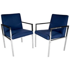 Pair of Mid-Century Modern Milo Baughman Style Lounge Chairs