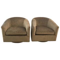 Pair of Mid-Century Modern Milo Baughman Style Swivel Chairs