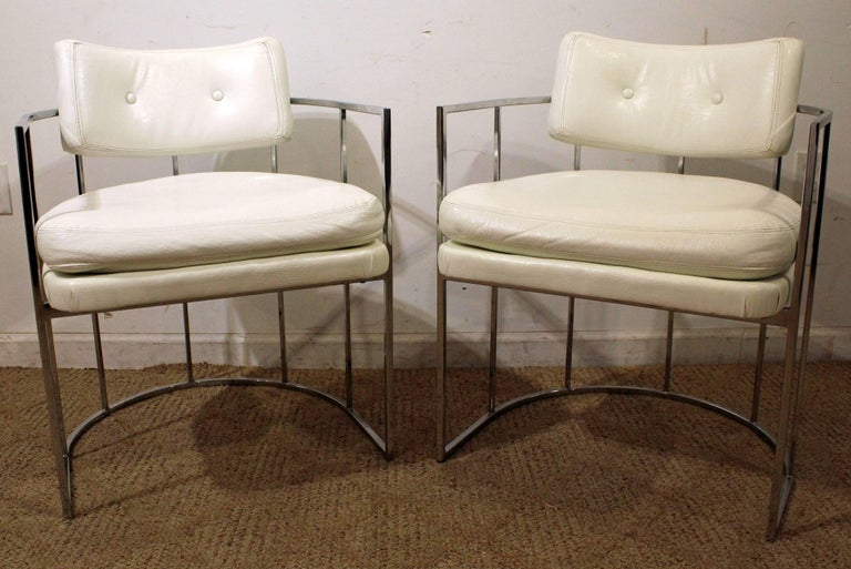American Pair of Mid-Century Modern Milo Baughman Thayer Coggin Chrome Lounge Chairs For Sale