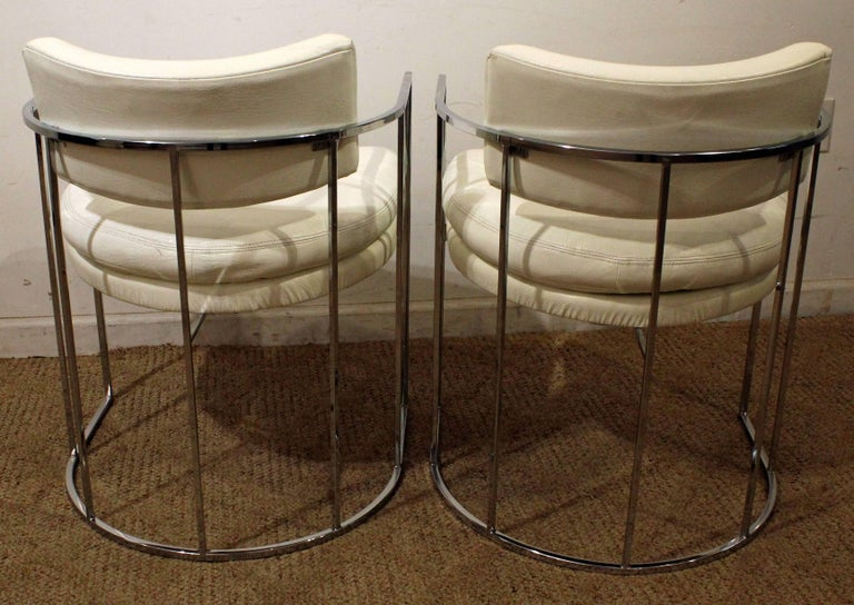 Pair of Mid-Century Modern Milo Baughman Thayer Coggin Chrome Lounge Chairs In Good Condition For Sale In Wilmington, DE