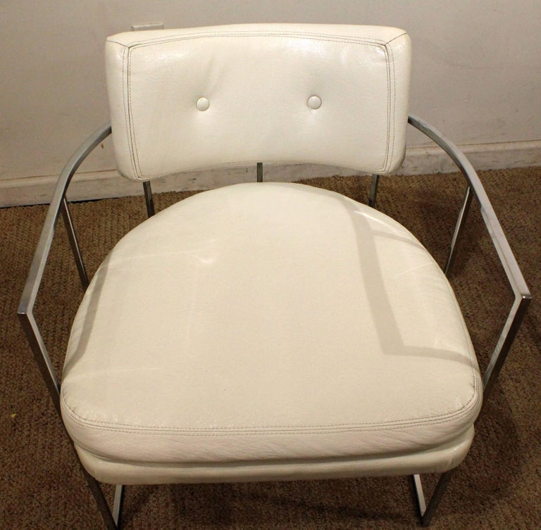 Late 20th Century Pair of Mid-Century Modern Milo Baughman Thayer Coggin Chrome Lounge Chairs For Sale
