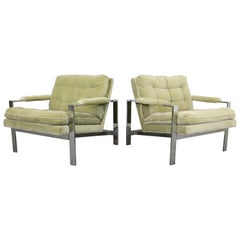 Pair of Mid-Century Modern Milo Baughman Thayer Coggin Chrome Lounge Chairs
