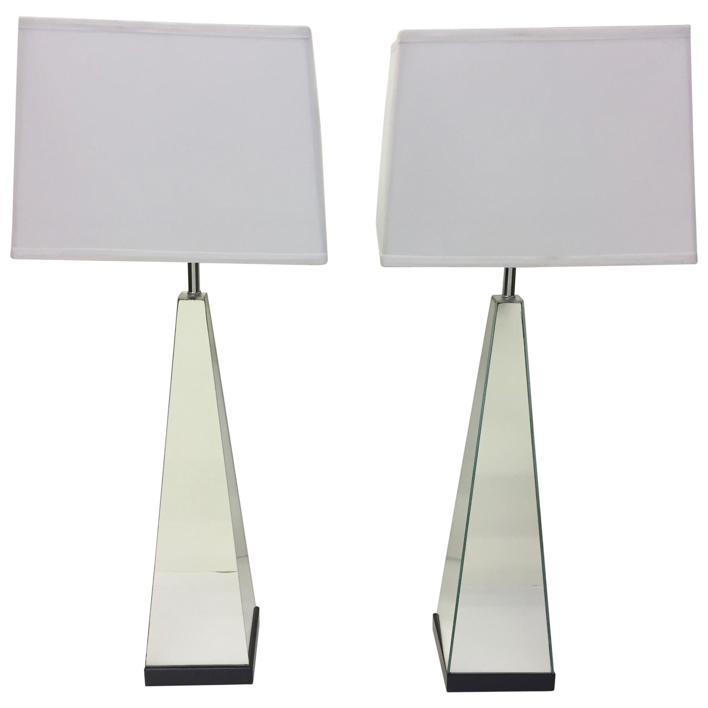 Pair of Mid-Century Modern Mirrored Obelisk Table Lamps