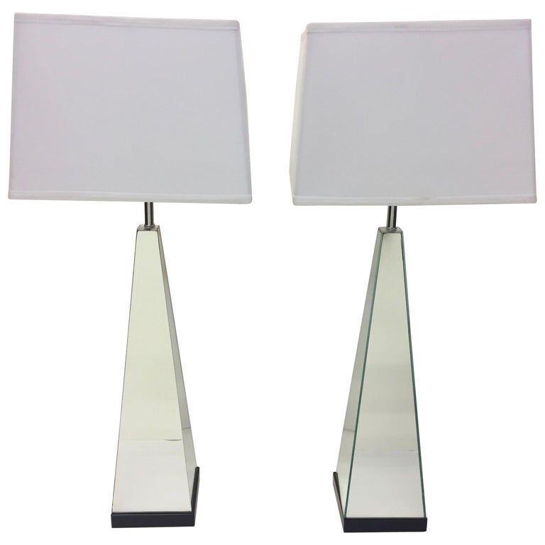 Pair of Mid-Century Modern Mirrored Obelisk Table Lamps For Sale