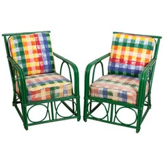 Pair of Mid-Century Modern Multi-Color Upholstered Armchairs