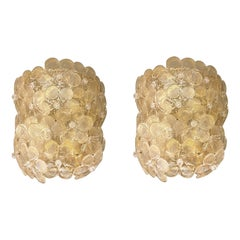 Pair of Mid-Century Modern Murano Clear/Gold Glass Flower Sconces, by Barovier