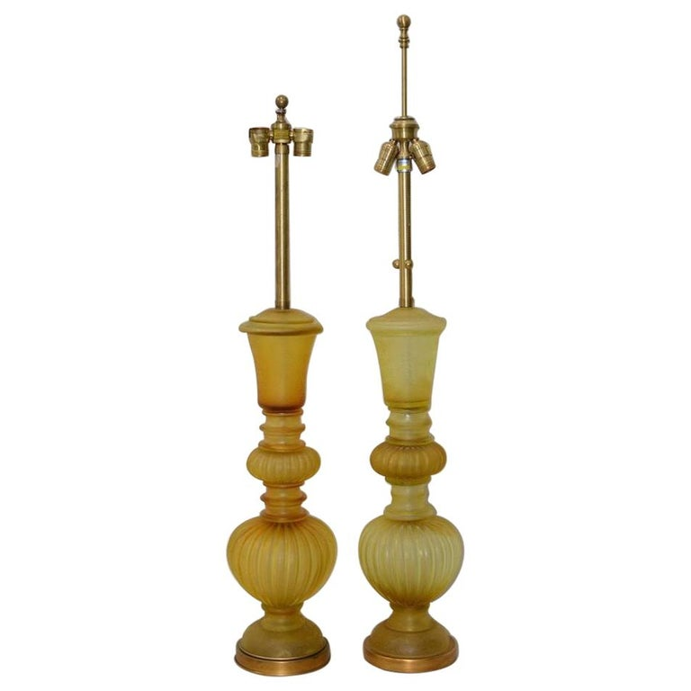"Pair of Marbro Seguso Murano ""Corroso"" Amber Glass Table Lamps, circa 1950 For Sale"