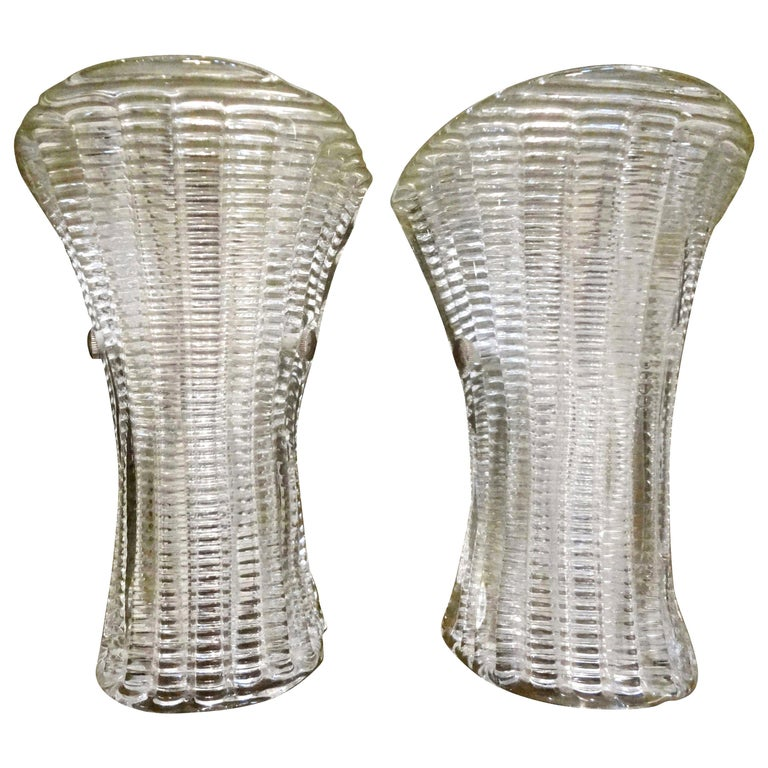 Pair of Mid-Century Modern Murano Glass Sconces For Sale