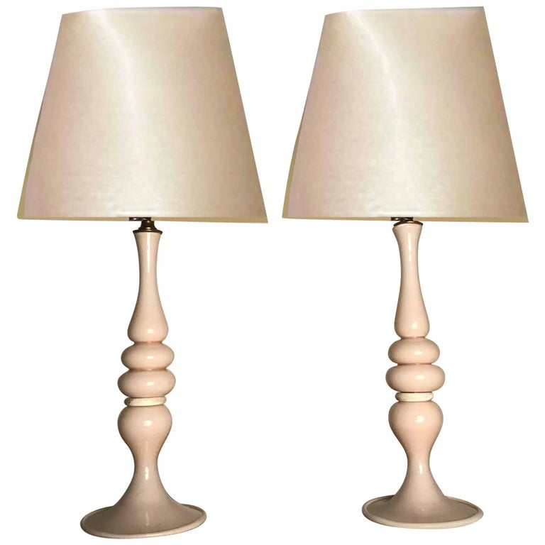 Pair of Mid-Century Modern Murano Glass Table Lamps For Sale