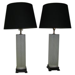 Pair of Mid-Century Modern Murano Latticino Art Glass Table Lamps