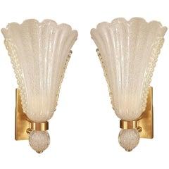 Pair of Mid-Century Modern Murano White/Gold Glass Barovier Sconces