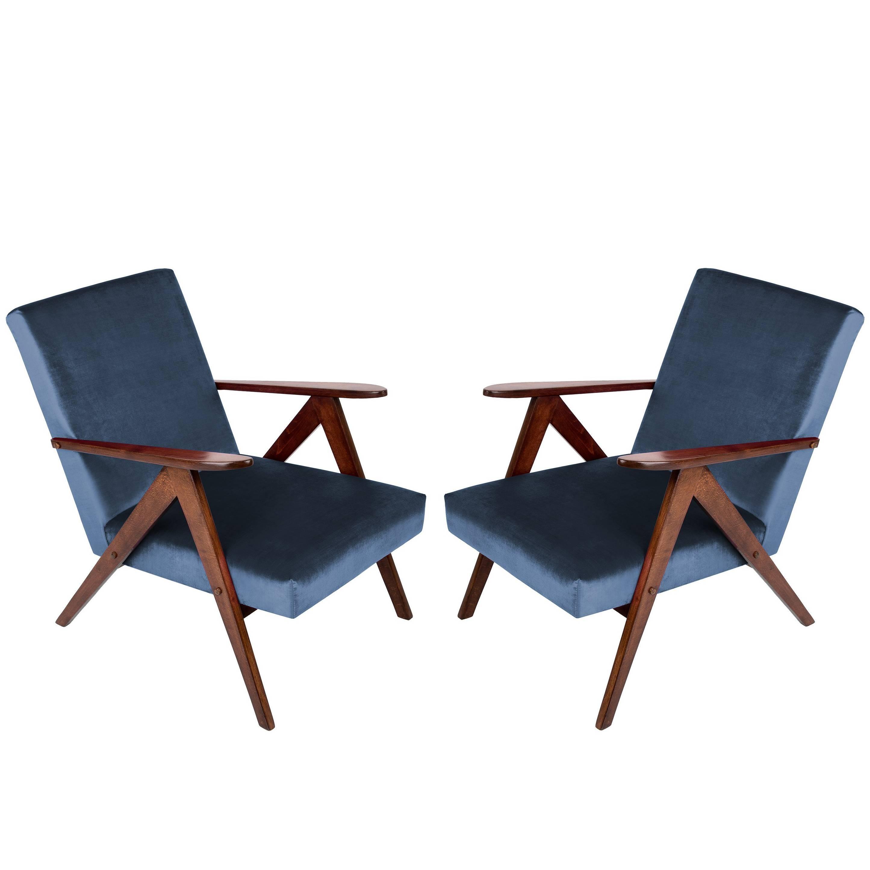 Pair of Mid-Century Modern Navy Blue Armchairs, 1960s