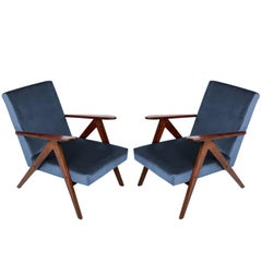 Pair of Mid-Century Modern Navy Blue Armchairs, 1960s