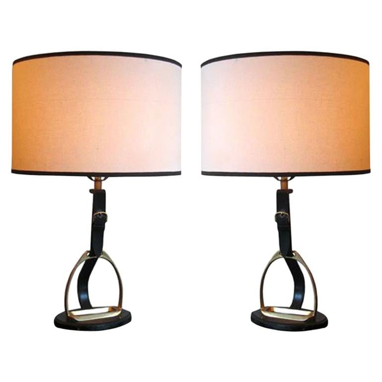 Pair of Mid-Century Modern Neoclassical Leather 'Stirrup' Table Lamps by Hermès