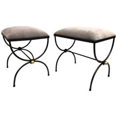 Pair of Mid-Century Modern Neoclassical Wrought Iron and Gilt Benches or Stools