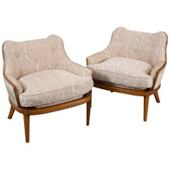 Pair of Mid-Century Modern Newly Upholstered Armchairs