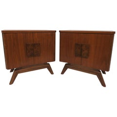 Pair of Mid-Century Modern Night Stands in Walnut and Burl, circa 1960s