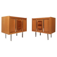 Pair of Mid-Century Modern Oak and Rosewood Nightstands