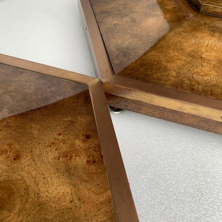 Pair of Mid-Century Modern Octagon Mastercraft Burl and Brass End Tables Stands For Sale 5