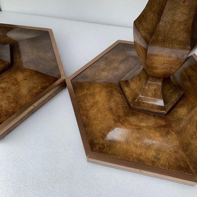 Pair of Mid-Century Modern Octagon Mastercraft Burl and Brass End Tables Stands For Sale 8