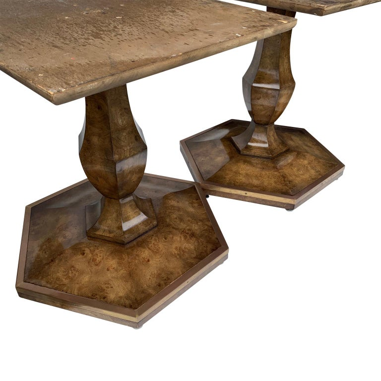 American Pair of Mid-Century Modern Octagon Mastercraft Burl and Brass End Tables Stands For Sale