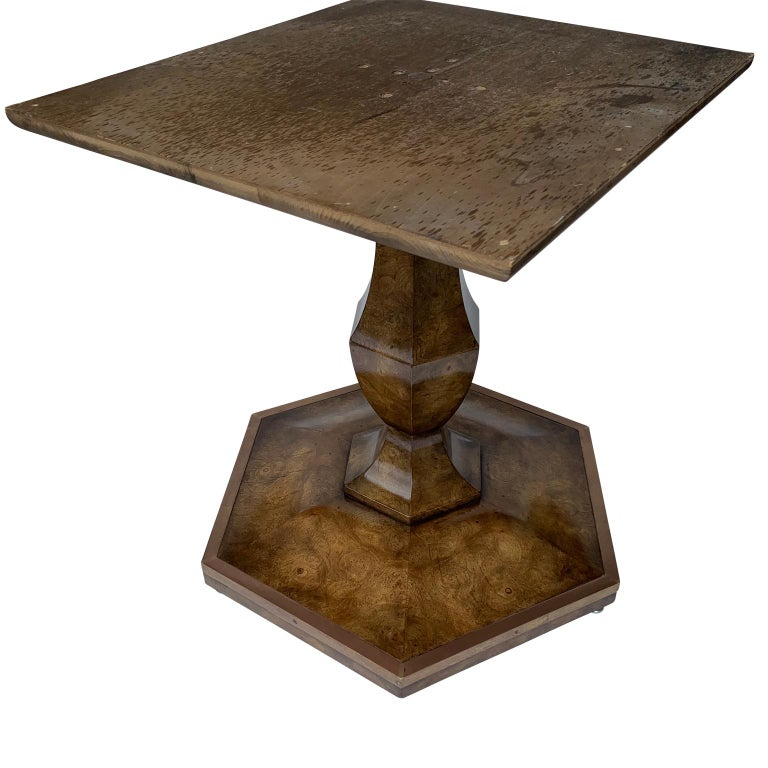 Pair of Mid-Century Modern Octagon Mastercraft Burl and Brass End Tables Stands For Sale 1