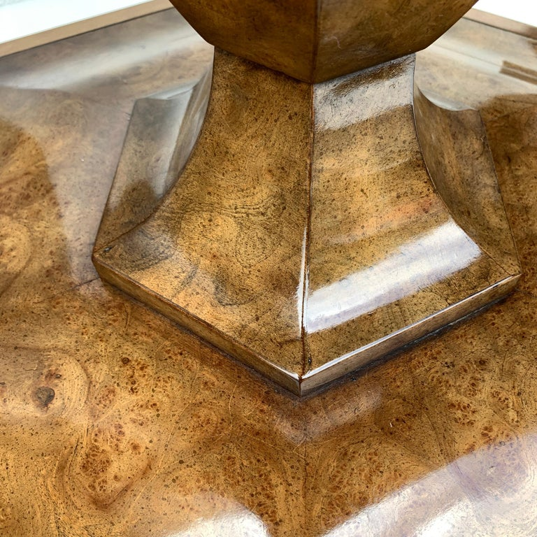 Pair of Mid-Century Modern Octagon Mastercraft Burl and Brass End Tables Stands For Sale 3