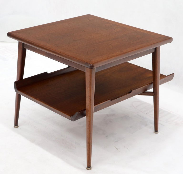 Pair of Mid-Century Modern Oiled Walnut End Side Tables  For Sale 7