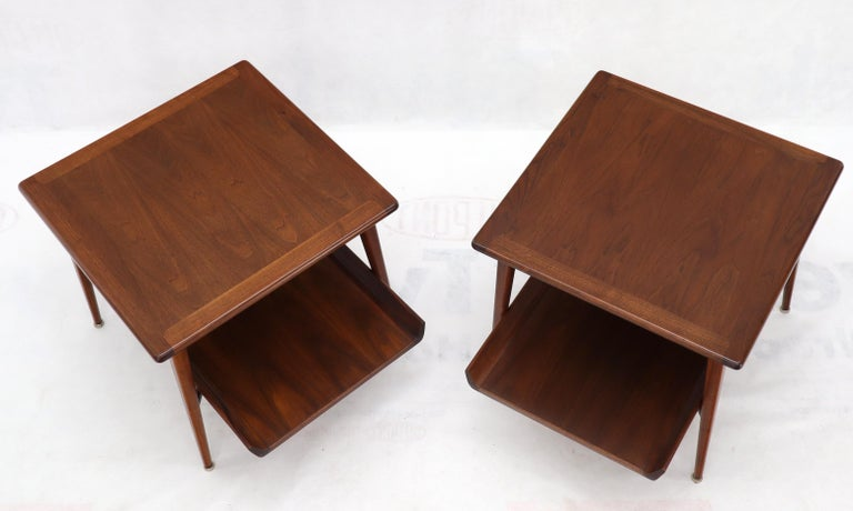 American Pair of Mid-Century Modern Oiled Walnut End Side Tables  For Sale
