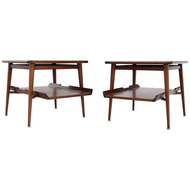 Pair of Mid-Century Modern Oiled Walnut End Side Tables  For Sale