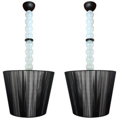 Pair of Mid-Century Modern opalescent Murano Glass and Shades Chandeliers