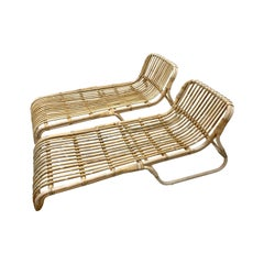 Pair of Mid-Century Modern Organic Bamboo Rattan Lounges Chaises Lounges