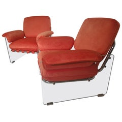 Pair of Mid-Century Modern Pace Argenta Lucite Lounge Chairs