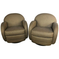 Pair of Mid-Century Modern Pace by Directional Leon Rosen Style Swivel Chair