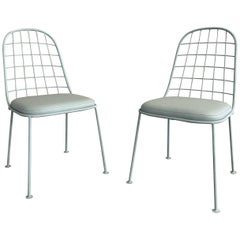 Pair of Mid-Century Modern Painted Wrought Iron Outdoor Patio Chairs