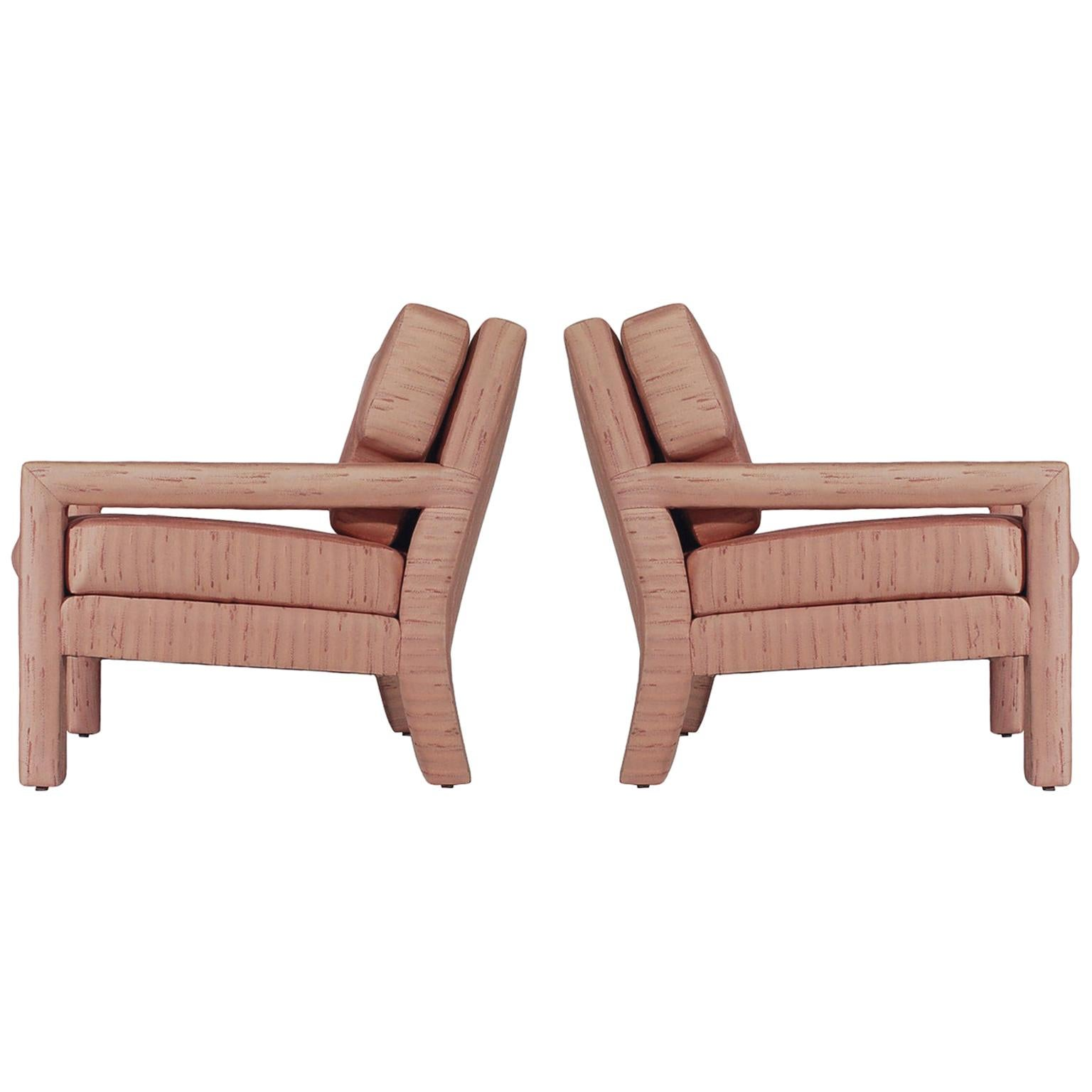 Pair of Mid-Century Modern Parsons Lounge or Club Chairs after Milo Baughman