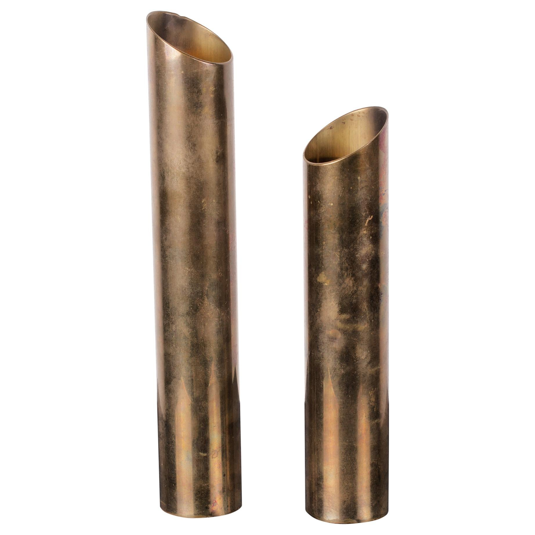 Pair of Mid-Century Modern Patinated Brass Tube Candlestick Holders