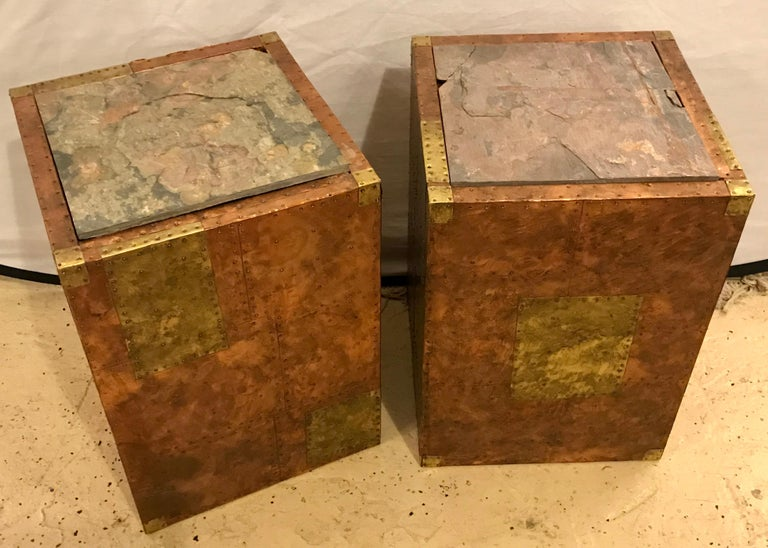 Pair of Mid-Century Modern Paul Evans Inspired End Tables or Pedestals In Good Condition For Sale In Stamford, CT