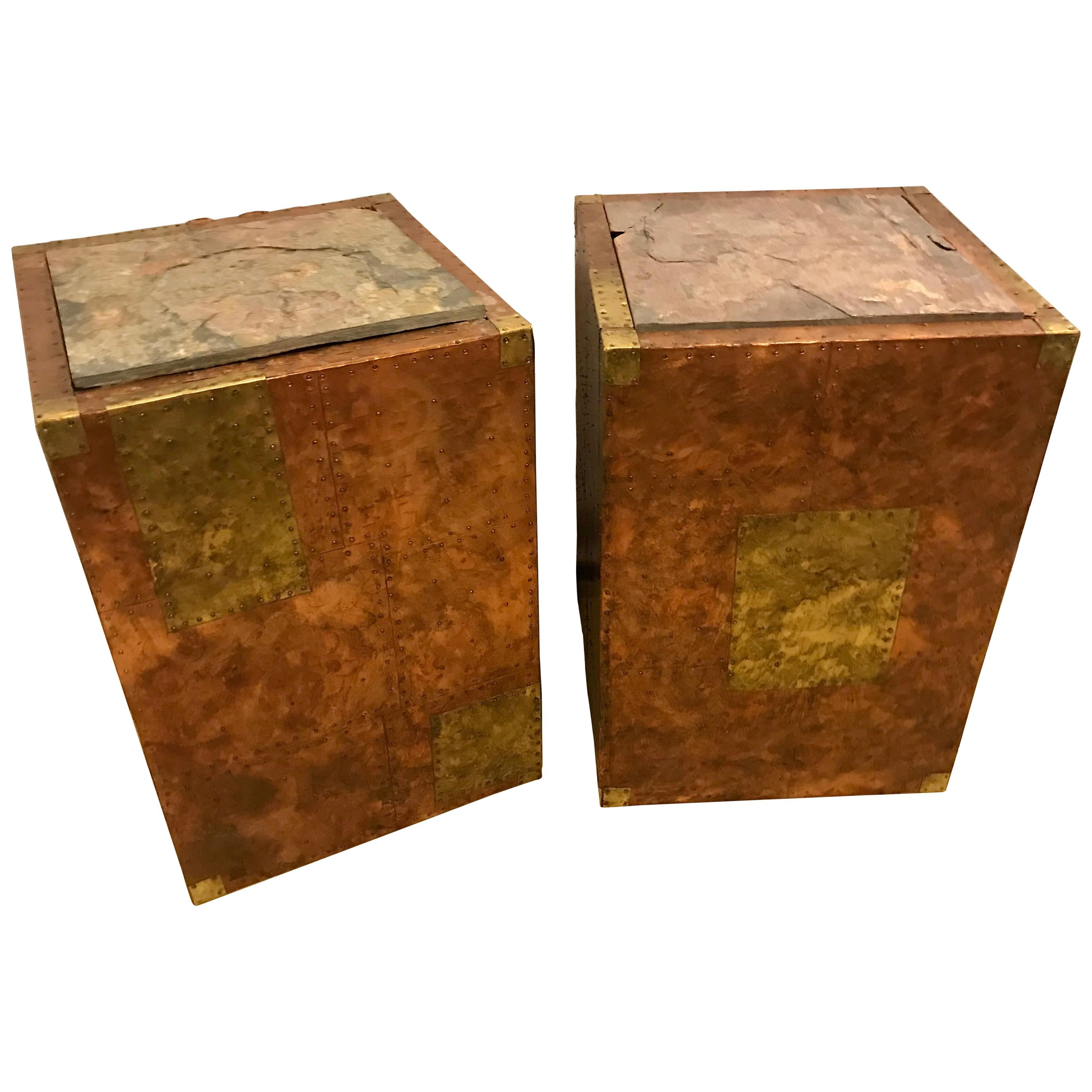Pair of Mid-Century Modern Paul Evans Inspired End Tables or Pedestals