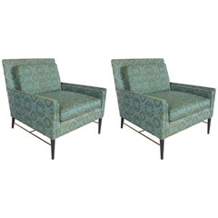 Pair of Mid-Century Modern Paul McCobb for Calvin Lounge Chairs with Brass