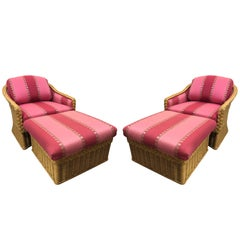 Pair of Mid-Century Modern Pink Rasberry Wicker Lounge Chair and Ottomans