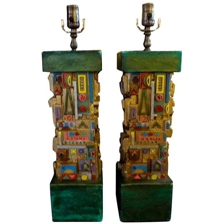 Pair of Mid-Century Modern Plaster Lamps in the Manner of Louise Nevelson For Sale