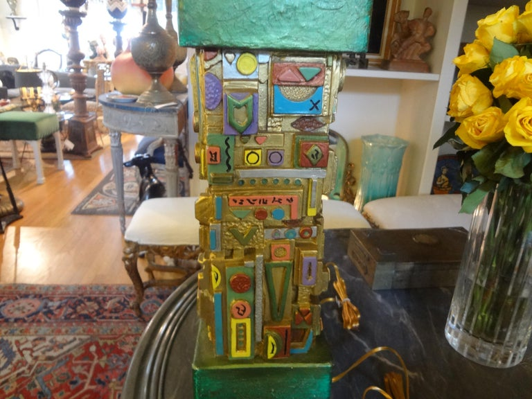 Pair of Mid-Century Modern Plaster Lamps in the Manner of Louise Nevelson For Sale 2
