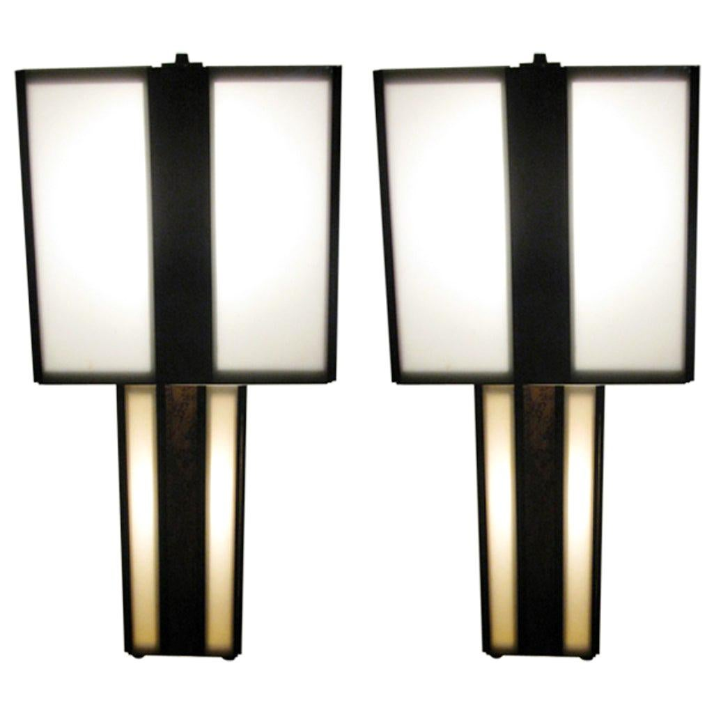 Pair of Mid-Century Modern Plexi with Cork Table Lamps