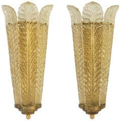 Pair of Mid-Century Modern Plume Design Gold Italian Murano Glass Wall Lights