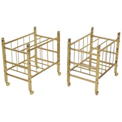 Pair of Mid-Century Modern Polished Brass Magazine Racks on Metal Casters