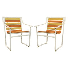 Pair of Mid-Century Modern Rare Samsonite Outdoor Patio Steel Tube Armchairs