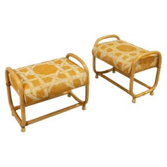 Pair of Mid-Century Modern Rattan Benches