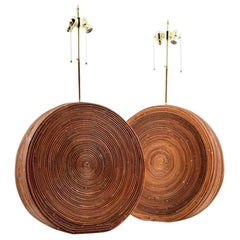 Pair of Mid-Century Modern Rattan Table Lamps in the Manner of Gabriella Crespi