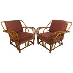Pair of Mid-Century Modern Rattan Woven Lounge Chairs